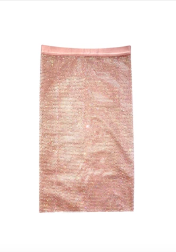 Honey Rose Mesh Jewel Skirt-Gold Pink