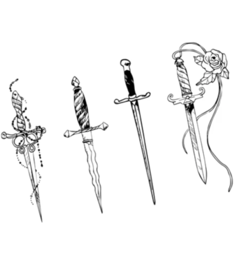 Daggers with swagger - Large temp. Tattoo Pack