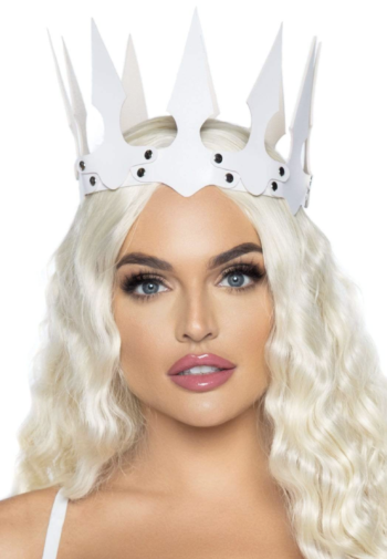 Leg Avenue Faux Leather Spiked Crown – White