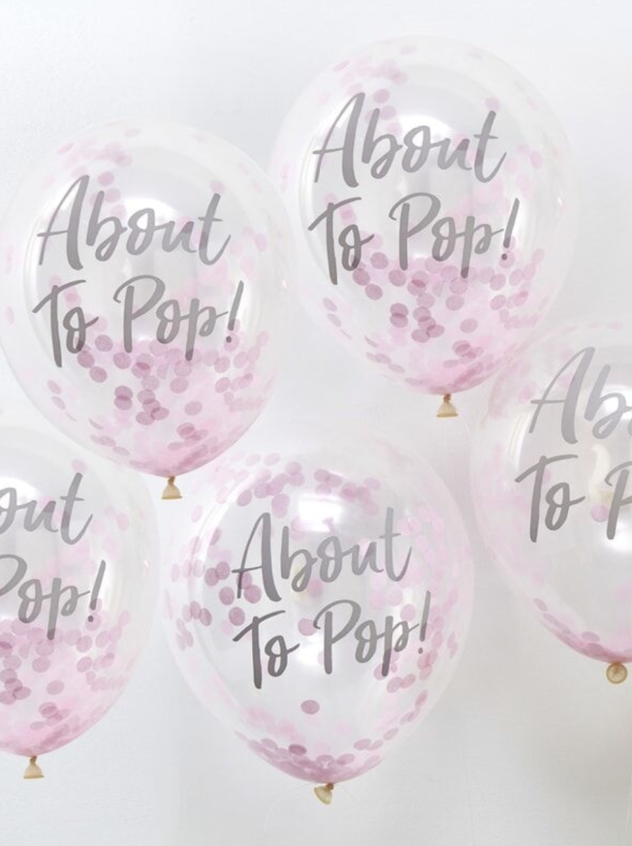 About to pop! Pink Baby Shower Confetti Balloons