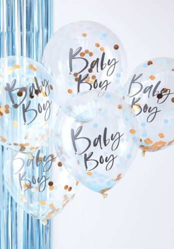 Blue Baby Boy Baby Shower Confetti Balloons