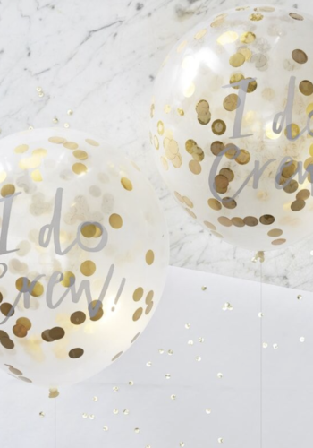 I Do Printed Gold Confetti Balloons
