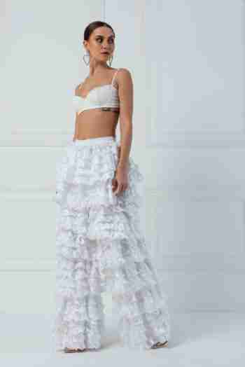 Kiki Riki – White Tiered Frill Pants