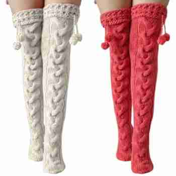 Knitted Over the Knee Socks with pompom