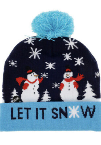 LIGHT UP  CHRISTMAS BEANIE HAT – LET IT SNOW