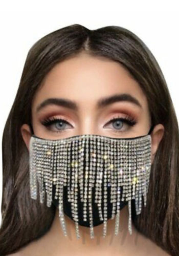Bling Rhinestone Tassel Face Mask