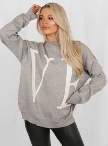 LOVE KNITTED JUMPER - GREY