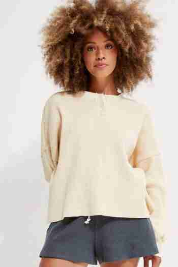 Organic Cotton Henley Waffle Pullover – back beat