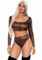 Leg Avenue Shimmer Crop Top And Thong – Bronze