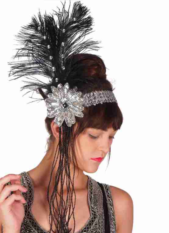 Sequin Flapper Headband with Beads and Feather