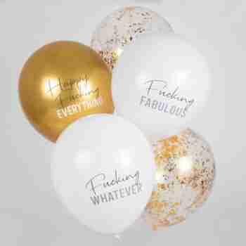 'Happy Fucking Everything' Gold Balloons