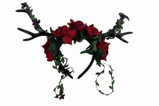 Red Roses and Antlers Headband