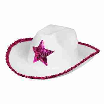 Pink Star White Rodeo Hat