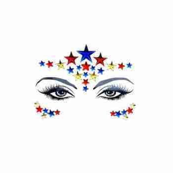 Neva Nude Red Blue and Yellow Stars Face Gems