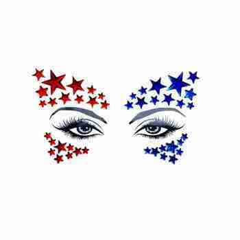 Neva Nude Red and Blue Stars Face Gems